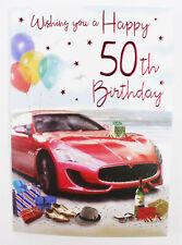 Mens Happy 50th Birthday Card & Envelope Seal Verse Milestone Age Quality Male