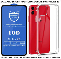 IPHONE 11 CLEAR SHOCKPROOF CASE 10D TEMPERED GLASS SCREEN PROTECTOR BUNDLE
