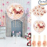 "10PC Rose Gold Confetti Balloon Birthday Wedding Party Xmas Helium Balloons 12"""