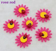 10-50-100PCS Sunflower ladybug Felt Appliques Satin Ribbon Flower Wedding DIY
