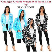 LADIES WOMENS PRINTED RAIN COAT CHANGES COLOUR WHEN WET HOODED MAC PARKA JACKET