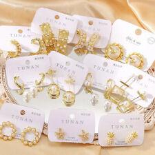 Fashion Heart Flower Pearl Crystal Earrings Women Ear Stud Hoop Xmas Jewelry NEW