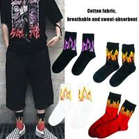 Fashion Mens Womens Casual Cotton Socks Hip Hop Sports Skateboard Flame Socks