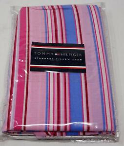 NEW Tommy Hilfiger Pink Blue Stripe Striped Standard Pillow Sham Pillowsham