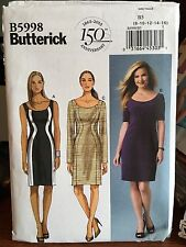 Butterick pattern 5998 misses fitted dress sleeve variation size 8-16 uncut
