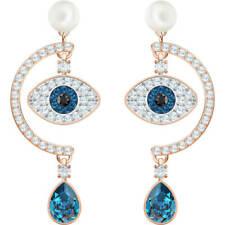 Duo Evil Eye Pearl Pierced Earrings Rose Gold Swarovski Jewelry