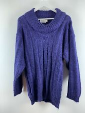 Womens Ladies Knit Turtleneck Sweater Jumper Purple Emreco Size 18 Uk