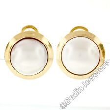 Vintage 14K Yellow Gold 13.30mm Mabe Pearl Button Omega Earrings w/ Plain Frame
