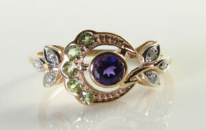 SUFFRAGETTE 9K 9CT ROSE GOLD AMETHYST PERIDOT DIAMOND ART DECO INS MOON RING