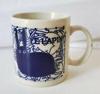Taylor & NG LE LAPIN Rabbits Orgy Blue French Coffee Cup Mug 12oz GUC