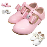 GIRLS KIDS CHILDREN WEDDING BOW BRIDESMAID PARTY SHOES SIZE 7-3