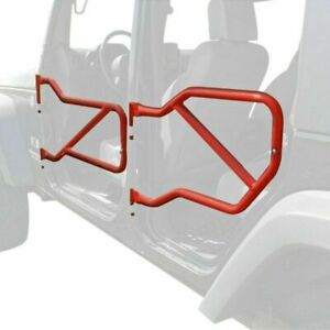 Steinjager Tube Doors Front and Rear set Jeep JK  2007-2018  RED (ALL 4 DOORS)