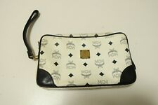 Authentic MCM Clutch Bag Leather White  #7118