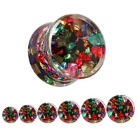 COLOURED ROCKS CLEAR Acrylic Ear Plugs Piercing Stretcher Jewellery Tunnel PL162