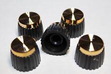 UK Stk. 5 x Genuine Guitar Amplifier Knobs Black+Gold Cap Push on Marshall amps.