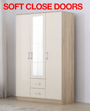Mirror XL Cream/Oak High Gloss 3 Door Wardrobe with Drawers