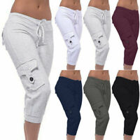 Women Casual Cargo Cropped Pants Sport Shorts Running Sweatpants Capri Trousers