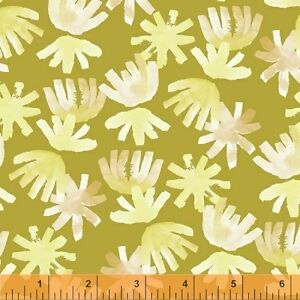 By 1/2 Yard Windham Cotton Lawn Voile Fabric ~ Aria Brushed Petals Citron Floral