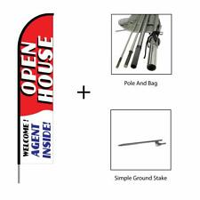 Open House Real Estate Feather Flag Swooper Banner Pole Kit Outdoor Sign, 15ft