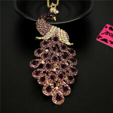 Betsey Johnson Rhinestone Purple Bling Peacock Crystal Pendant Chain Necklace