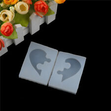 2pcs Puzzle Heart Shape Silicone Mold Casting Love Mould For DIY Jewelry*Pendant