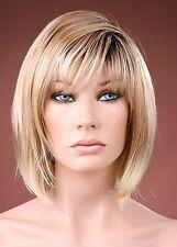Ladies Sharp Stylish Modern Bob Wig Blonde with Dark Roots Fashion Wig