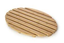 Natural Bamboo Oval Non Slip Wooden Bathroom Shower / Bath Duck Board