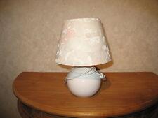 *NEW* Lampe de chevet H.27cm boule blanc abat-jour fleurs Lamp