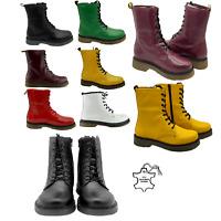 Ladies Womens Ankle Boots Winter Punk Chelsea Combat Dealer Leather Shoes Riding