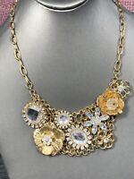 "Vintage Gold Tone Clear Rhinestone Flower Statement necklace 18"""