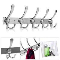10/15 Hooks Coat Hat Clothes Robe Holder Rack Hook Wall Hanger stainless steel