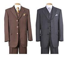 Men's 3 Button Classic Wool Feel Pinstriped Suit w/ Vest 3pc Set 5802V7