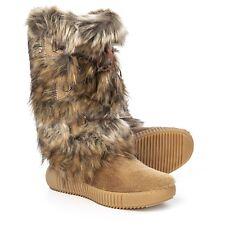 $348 Oscar Sport Apres Ski Fur Julia Boots Beige NEW~ US 6.5-7 (37)