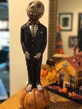 Ghoul Pumpkin Head Skeleton Halloween Spooky Figurine Statue New!