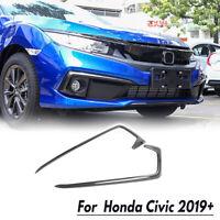 Front Fog light Eyebrow Cover Trim Carbon Fiber Style For Honda Civic