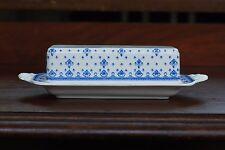 Copeland Spode 1/4 lb Butter Dish Fleur-De-Lis Lys England Earthenware Blue