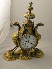German North European Brass Figural Clock C-1870 Antique, Great Quality