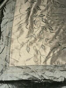 Dupione 100% SILK Floral Embroidery Taupe, Olive QUEEN Duvet Cover - GORGEOUS!