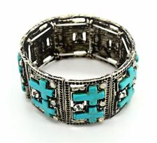 Large Cross Turquoise Metal Silver Cuff Wide Chunky Costume Stone Bracelet