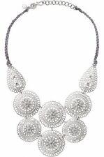 Women's Medina Bib Stella Style Silver Medallion Bib Dot Necklace Jewelry