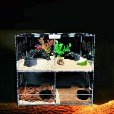 4 Grids Reptile Acrylic Tank Pet Insect Spiders Lizard Breeding Box Cage House