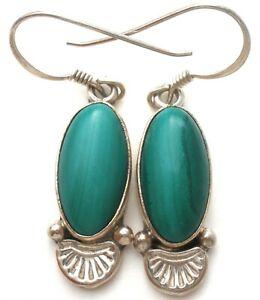 E Jackson Sterling Silver Green Malachite Earrings Vintage Navajo Jewelry 925