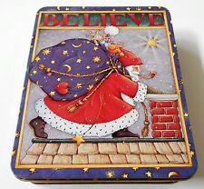 Mary Engelbreit Tin Santa Believe Christmas Rectangle Blue Stars Moons 1986