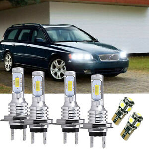 For Volvo V70 MK1 100w Super White Xenon HID High/Low/Side Headlight Bulbs Set