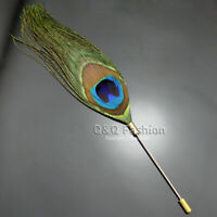 Peacock Feather Plume Boutonniere Gold Lapel Brooch Tie Hat Scarf Stick Pin