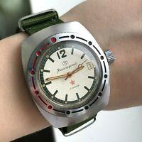 Komandirskie AMPHIBIAN Soviet VOSTOK Military Diver Watch 12 USSR MO Date Rare