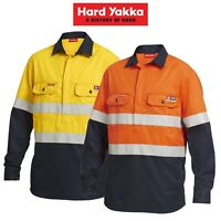 Mens Hard Yakka FR ShieldTec Hi-Vis Safety Mining Energy Gas Work Shirt Y04550