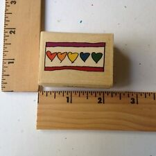 That's All She Stamped Rubber Stamp - Row of Small Hearts
