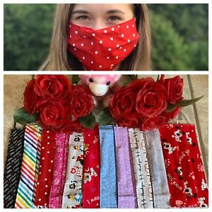 VALENTINE 100% Cotton Face Mask with Nose Wire and Pocket