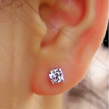 Real Stud 0.50 Ct Solitaire Diamond Earrings Studs Solid 14K White Gold VS1 H I